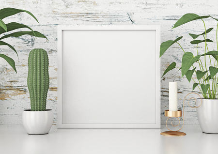 Square frame poster with green plants on white wooden wall background. 3d rendering. wooden wall background. 3d rendering.
