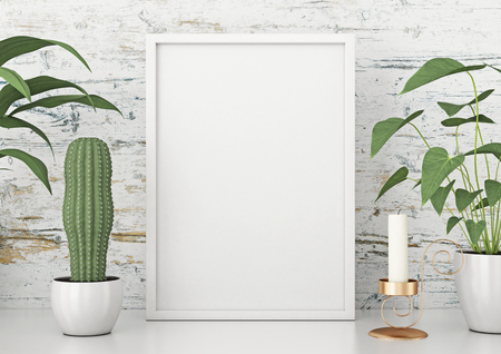 Vertical frame poster with green plants on white wooden wall background. 3d rendering. Stok Fotoğraf