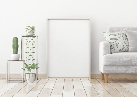 Interior poster with a vertical frame on the floor in a scandinavian style living room. 3d rendering.