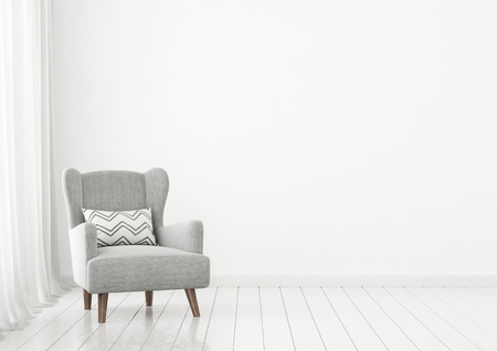 Simple living room interior wall mock up with gray armchair near window on clear white background. 3D rendering.