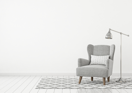 Neutral classic living room interior with gray fabric armchair, pillow, lamp and nordic style rug on empty white wall background. 3D rendering.