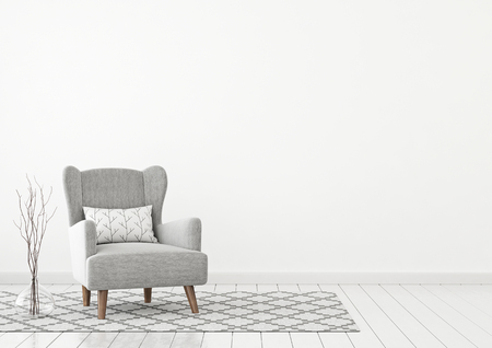 Simple and cozy living room with gray armchair, pillow, twigs in vase and scandinavian style rug on clear white wall background. 3D rendering. Stok Fotoğraf