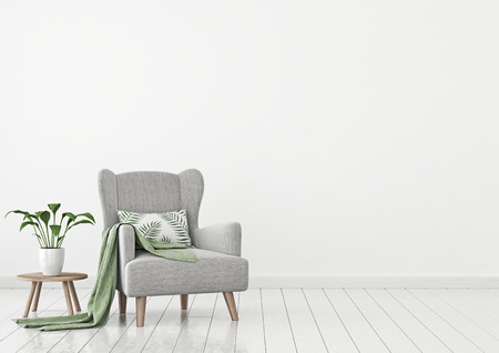 Simple urban jungle style interior with gray armchair, green plaid, tropical pattern pillow and plant on white wall background. 3D rendering.