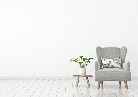 Livingroom interior wall mock up with fabric armchair, green plant and little table on clear white wall background. 3D rendering.