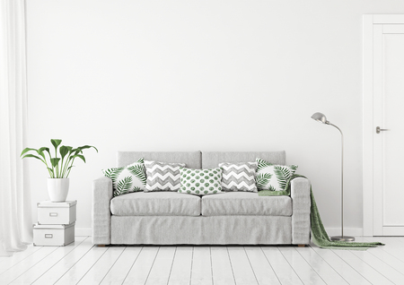 Neutral living room interior with fabric sofa, pillows and plaid on clear white wall background. 3D rendering. Stok Fotoğraf