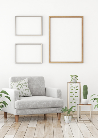 Interior poster with three frames on scandinavian style living room. 3d rendering.