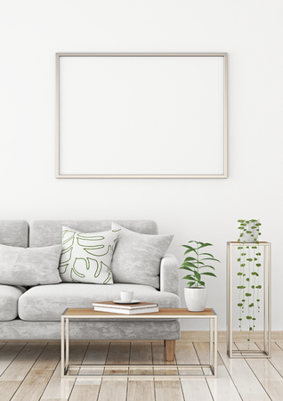 Interior poster. Mock up with horizontal frame. 3d rendering.
