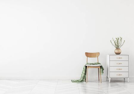 Empty wall mock up with chair, chest of drawers and plant in vase in clean white living room interior. 3D rendering.