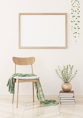 Horizontal poster mock up with wooden frame on the wall in living room interior. 3D rendering. 写真素材