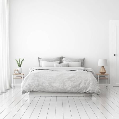 Maqueta de pared interior de la casa con cama deshecha, cojines, cortinas y planta verde en dormitorio blanco. Representación 3D.