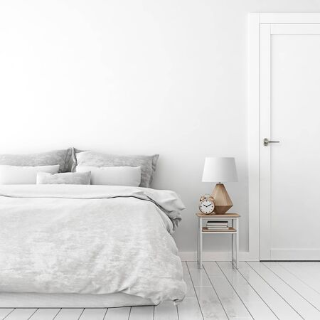 Home interior wall mock up with unmade bed, cushions, door, lamp and alarm clock in white bedroom. 3D rendering. Stok Fotoğraf