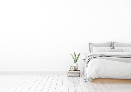 Home interior wall mock up with unmade bed, plaid, cushions and plant in white bedroom. Free space on left. 3D rendering. Stok Fotoğraf