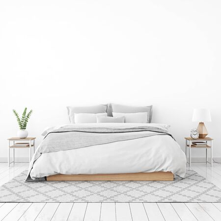 Home interior wall mock up with unmade bed, plaid, cushions and plant in white bedroom. 3D rendering. Stok Fotoğraf