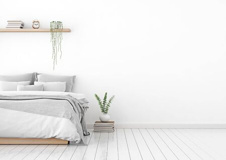 Home interior wall mock up with unmade bed, plaid, cushions and plant in white bedroom. Free space on right. 3D rendering.