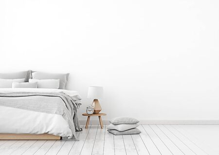 Home interior wall mock up with unmade bed, plaid, cushions and lamp in white bedroom. Free space on right. 3D rendering. Stok Fotoğraf