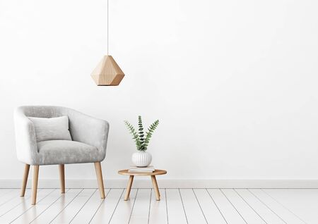 Home interior wall mock up with gray velvet armchair, cushion, hanging lamp and plant in vase on empty white background. 3D rendering. Stok Fotoğraf