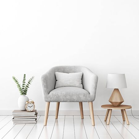 Home interior wall mock up with gray velvet armchair, cushion and lamp on empty white background. 3D rendering. Stok Fotoğraf