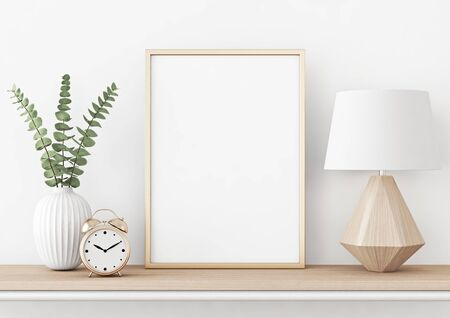 Affiche d'intérieur à la maison avec cadre en métal vertical, plante dans un vase et lampe sur fond de mur blanc. rendu 3D. Banque d'images