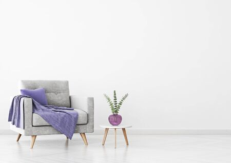 Living room interior with gray velvet armchair, violet plaid, vase and coffee table on empty white wall background. 3D rendering.