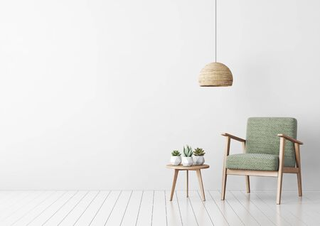 Interior mock up with green fabric armchair, coffee table, succulents and hanging lamp in living room with white wall. 3D rendering. Banque d'images