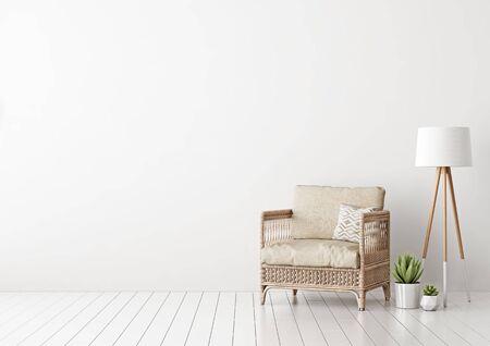Inneneinrichtung mit Korbsessel, beige Kissen, Lampe und grünen Pflanzen im Wohnzimmer mit leerer weißer Wand. 3D-Rendering.