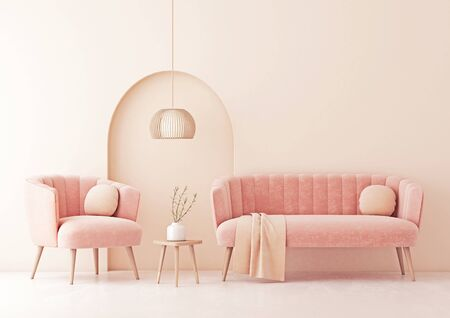 Living room interior wall mock up with pastel coral pink sofa and armchair, round pillows, plaid, pendant lamp and decorative arch on beige wall background. 3D rendering.