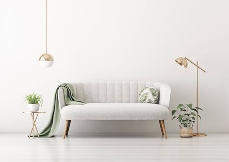Living room interior wall mockup with gray velvet sofa, round pillow with tropical pattern, green plaid, plants in pot and basket and lamps on empty white wall background. 3D rendering, illustration. 스톡 콘텐츠
