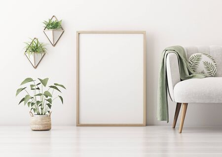 Poster mockup with vertical frame standing on floor in living room interior with gray sofa, round pillow, green plaid and plant in basket on empty white wall background. 3D rendering. 스톡 콘텐츠