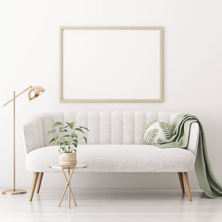 Poster mockup with horizontal frame on empty white wall in living room interior with gray velvet sofa, round pillow with tropical pattern, green plaid, lamp and plant in basket. 3D rendering.