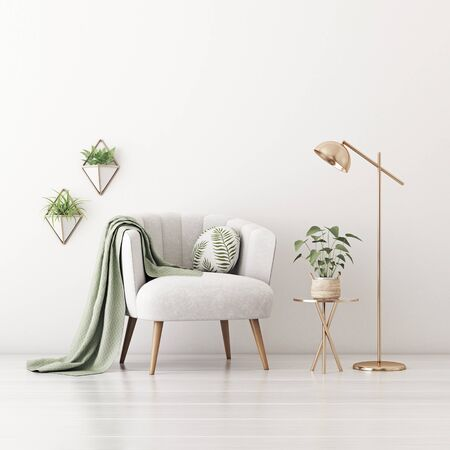 Living room interior wall mockup with gray velvet armchair, round pillow with tropical pattern, green plaid, lamp, coffee table and plants on empty white wall background. 3D rendering, illustration.
