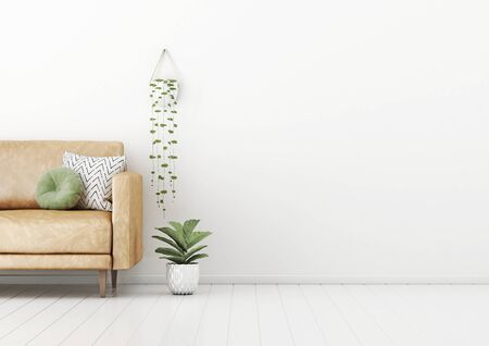 Living room interior wall mockup with tan brown leather sofa, round green pillow, and hanging plant on empty white wall background. 3D rendering, illustration.