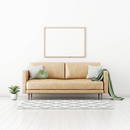 Postermodell mit horizontalem Rahmen auf leerer weißer Wand im Wohnzimmer mit braunem Ledersofa, rundem Kissen, grünem Plaid, Pflanze in Topf und Teppich. 3D-Rendering, Abbildung.