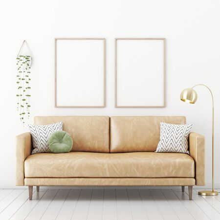 Poster mockup with two vertical frames on empty white wall in living room interior with tan brown leather sofa, green round pillow, hanging plant and lamp. 3D rendering, illustration.