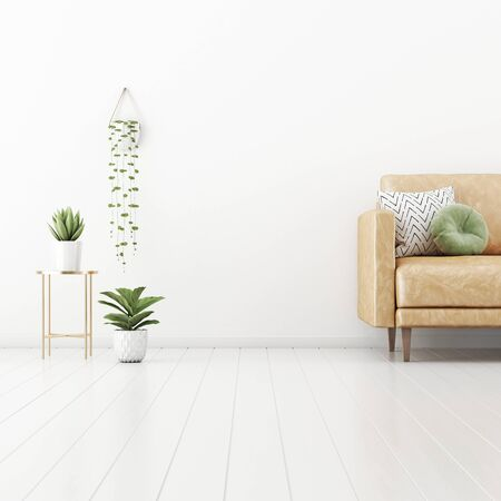 Living room interior wall mockup with tan brown leather sofa, round green pillow and plants in pots and hanger on empty white wall background. 3D rendering, illustration.