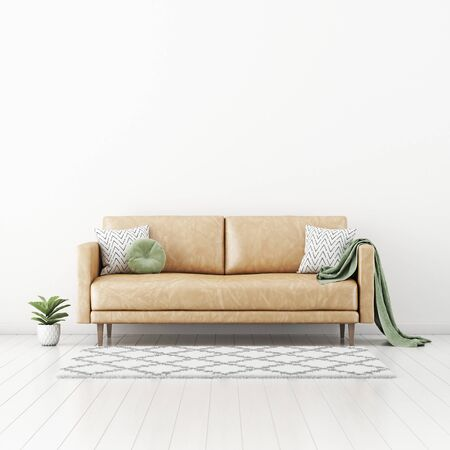 Living room interior wall mockup with tan brown leather sofa, round green pillow and plaid, plant in pot and rug on empty white wall background. 3D rendering, illustration.