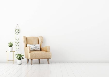 Living room interior wall mockup with tan brown leather armchair, pillow, coffee table and green plants in pots and hanger on empty white wall background. 3D rendering, illustration. 스톡 콘텐츠