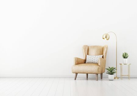 Living room interior wall mockup with tan brown leather armchair, pillow, green plants in pots, coffee table and brass floor lamp on empty white wall background. 3D rendering, illustration.
