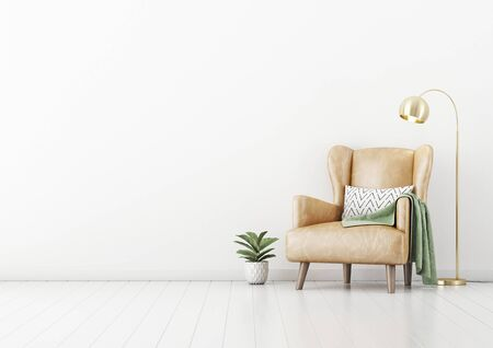 Living room interior wall mockup with tan brown leather armchair, pillow, plaid , green plant in pot and brass floor lamp on empty white wall background. 3D rendering, illustration.