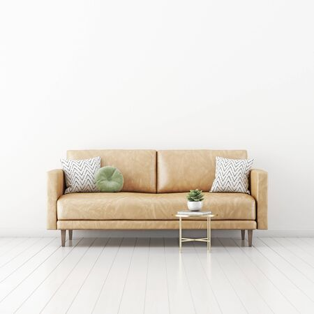 Living room interior wall mockup with tan brown leather sofa, round green pillow, coffee table and succulent plant on empty white wall background. 3D rendering, illustration.