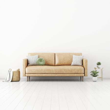 Living room interior wall mockup with tan brown leather sofa, round green pillow, basket with plaid and plants in pots on empty white wall background. 3D rendering, illustration.