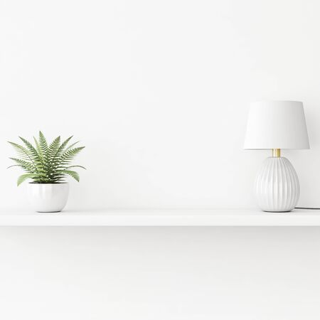 Interior wall mockup with green plant in pot and lamp standing on the shelf on empty white background. 3D rendering, illustration.