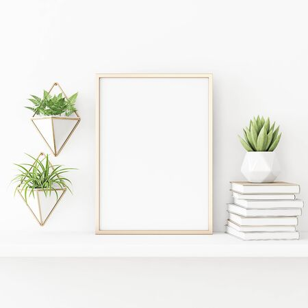 Interior poster mockup with vertical gold metal frame standing on the table with plants in pots and pile of books on empty white wall background. 3D rendering, illustration.