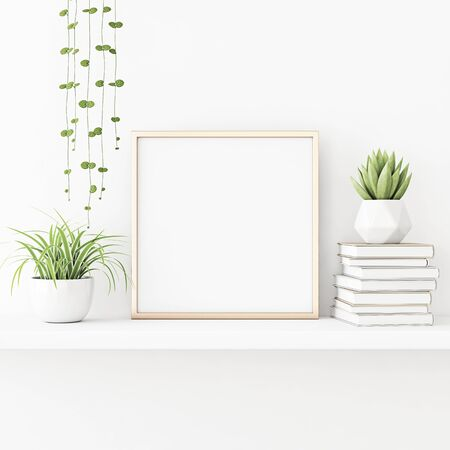 Interior poster mockup with square gold metal frame standing on the table with plants in pots and pile of books on empty white wall background. 3D rendering, illustration.