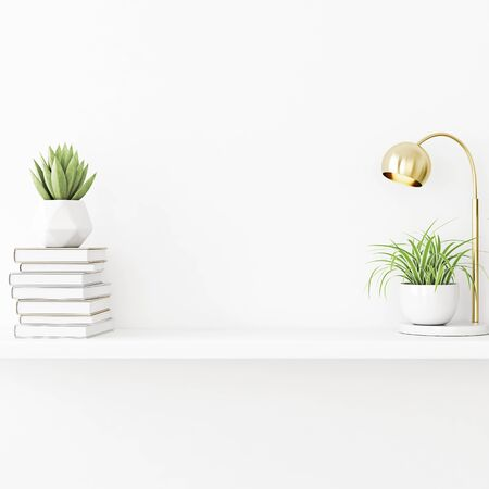 Interior wall mockup with plants in pots, lamp and pile of books standing on empty white background. 3D rendering, illustration.