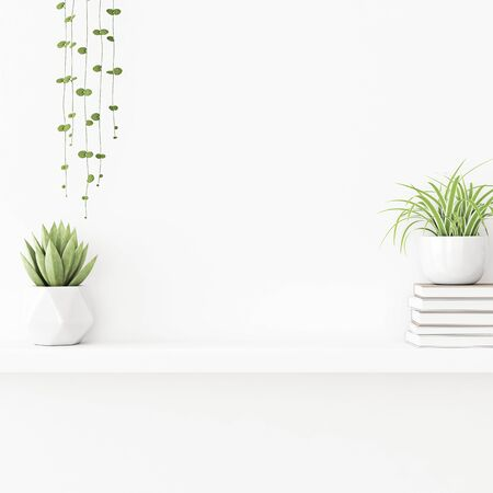 Interior wall mockup with plants in pots and pile of books standing on on empty white background. 3D rendering, illustration. 스톡 콘텐츠