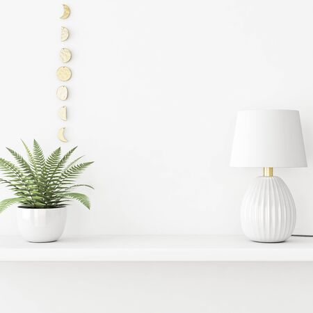 Interior wall mockup with green fern plant in pot and lamp standing on the shelf on empty white background. 3D rendering, illustration. 스톡 콘텐츠