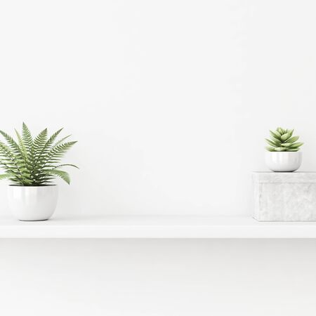 Interior wall mockup with green 