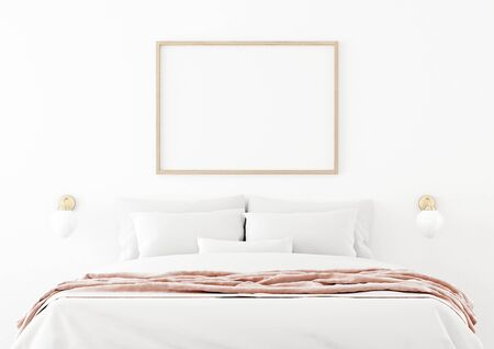 Poster mockup with horizontal wooden frame hanging on the wall in bedroom interior with unmade bed, pink plaid and bedside lamps on empty white background. 3D rendering, illustration.