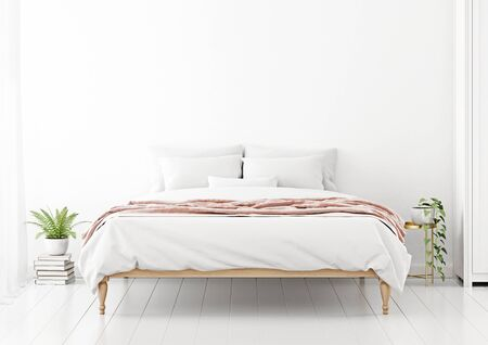 Bedroom interior wall mockup with unmade bed, pink plaid and green plants on empty white wall background. 3D rendering, illustration.