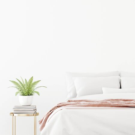 Bedroom interior wall mockup with unmade bed, pink plaid and green fern plant on empty white wall background. 3D rendering, illustration.